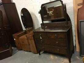 ** VINTAGE OAK FRAMED DRESSING TABLE - others available **