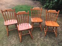 Medium Solid Pine Table and 4 Chairs