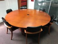 Cherry wood round table & 6 leather/wood chairs and cabnet