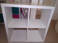Shelving unit plus Cabinet with 4 compartments with 5 boxes
