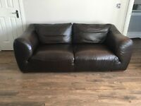 2 Reids soft leather brown sofas ( excellent condition )