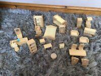 Dolls house furniture chunky wood