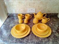 Rayware Tableware 2 place settings 1970's Retro Mustard Colour