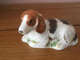 Royal crown derby china puppy paper weight gold stopper boxed in vgc