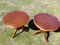 Matching pair of round wooden occassional/coffee tables.