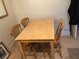 Maple Wood Dining Table and 3 Chairs - available now