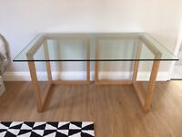 KUSA Large Glass And Oak Trestle Desk