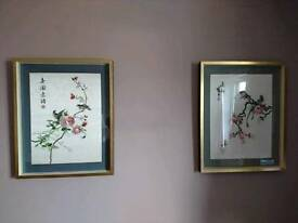 Pair embroidered silk bird pictures