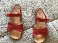 GIRLS CLARKS RED SANDALS £5.00 Size U.K. 2