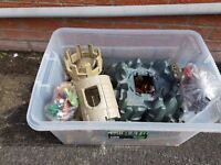 Large Box of playmobile knights and tower
