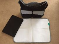 Boots baby changing bag with Pampers changing mat - Black/Grey - Superb Condition