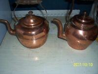 set of vintage ,copper brass pots pans