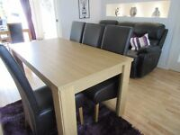 CAXTON LIGHT OAK TABLE & 6 CHAIRS COMPLETE WITH SIDEBOARD