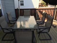 Patio set includes six chairs