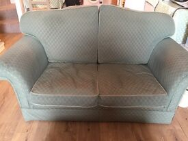 Well loved and comfortable green sofa