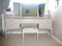 Stag Dressing Room Table, Mirror & Stool (Upcycled)