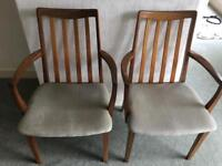 Two g plan carver armed dining chairs vintage retro