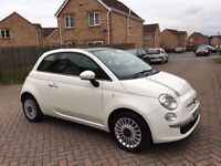 FIAT 500 1.2 LOUNGE, MILEAGE 44000, FULL SERVICE HISTORY, COLOUR WHITE
