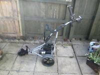 POWAKADDY FREEWAY ELECTRIC GOLF TROLLEY,USED BATTERY AND CHARGER.