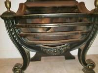 Old cast steel fire grate basket