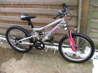 Girls Mountain Bike 20in Wheel 11.5in Frame 5 Gears Full Suspension