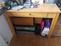 Solid pine desk with drawer
