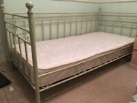 Ivory Coloured Girls Single Day Bed with Mattress