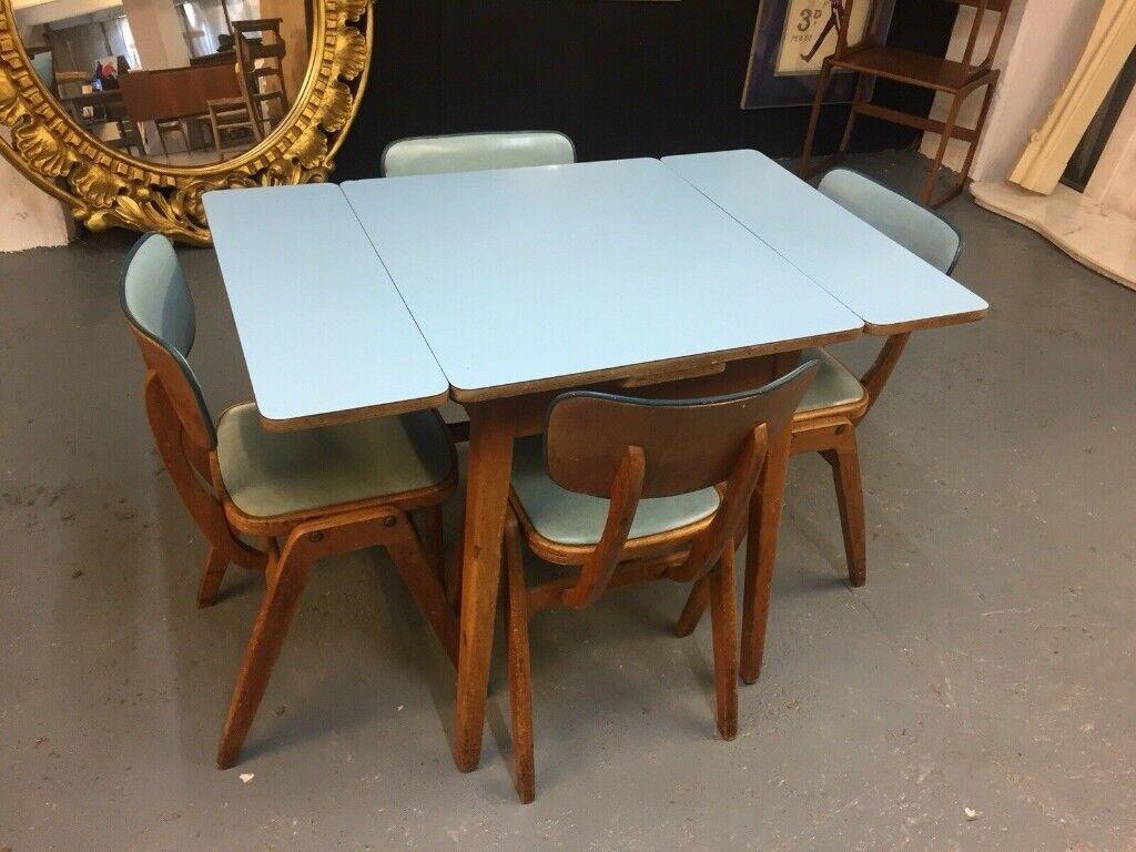 Mid Century Retro 1950s Teak Vinyl Butterfly Draw Leaf Kitchen Table Chairs In Clifton Bristol Gumtree