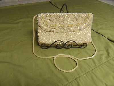 "Ivory Bead Clutch Purse - ""Handmade"" Shoulder Bag"