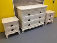 Laura Ashley Lillie French shabby chic Style chest of drawers & bedside cabinets John Lewis habitat