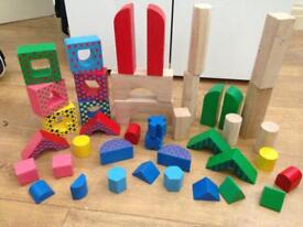 Wooden blocks differ at shapes and sizes