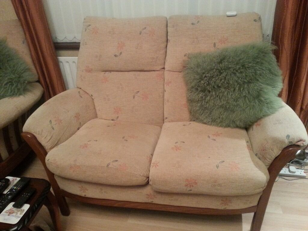 Two seater suite 2 chairs £100 2corner units ££30 Each also nest tables 2 set £50 all good