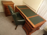 6x3ft Solid Mahogany Wood Partners Desk+Filing Cabinet Great Condition
