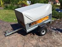 Tipping trailer erd 122 with spare wheel and extension top