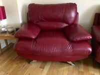 wanted red armchair and foot stool