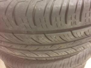 4 pneus d'été, 235/55/17, Continental, Contiprocontact, 60% d'usure, 5/32 de mesure.