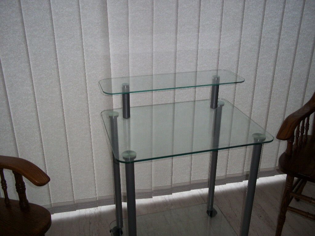Glass Pc Computer Laptop Desk Or Hi Fi Stand Tempered In
