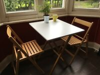 Bamboo and lacquer folding dining table + 2 chairs