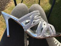 NEW Silver diamonte crystal high heels size 6 peeptoes