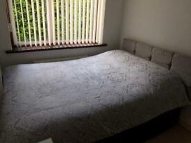Double Divan Bed with Grey Chenille Headboard