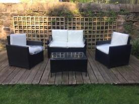 SOLD - Black Rattan effect garden furniture