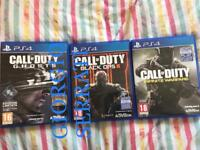 Call of duty series: Cod Ghost, Cod Black Ops 3, Cod Infinite Warfare PS4