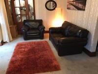 Brown Leather 2 Seater Sofa + Armchair Good Condition