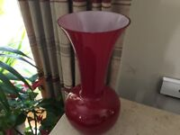 Elegant red glass vase