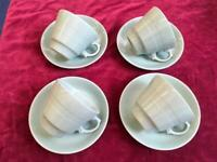 Vintage 1940's set of Four Beryl Ware Cups and Saucers in Green