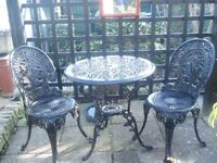 GARDEN TABLE AND TWO CHAIRS ALUMINIUM BLACK