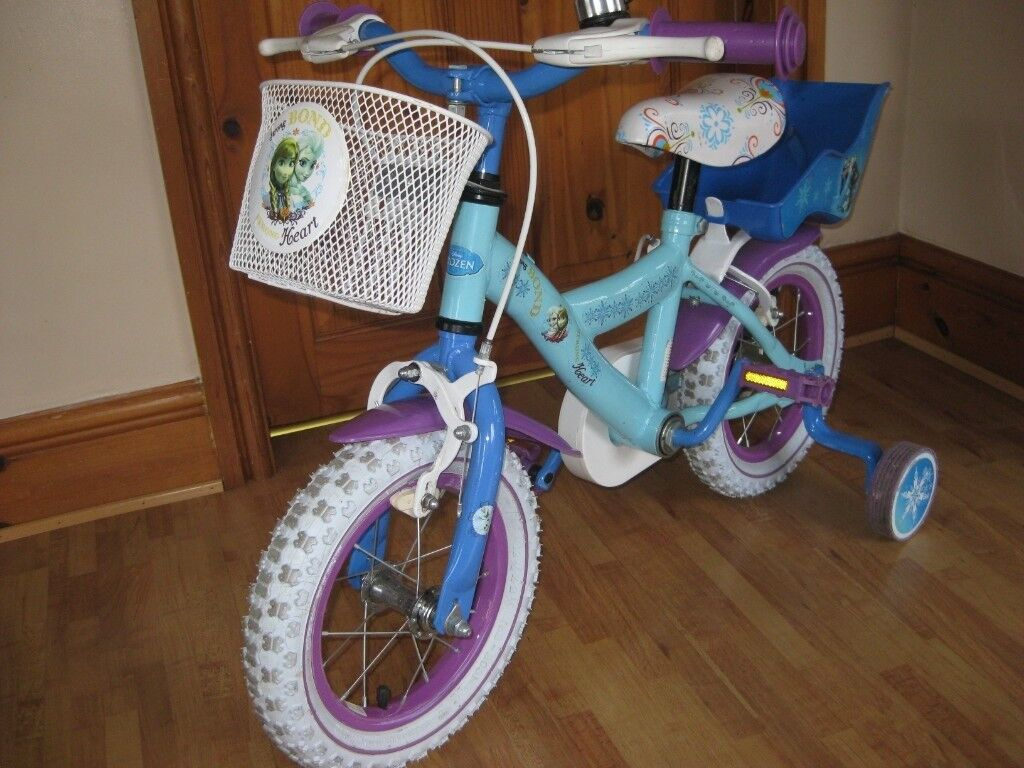 """7e69c681cd6 Girls 12"""" Frozen themed Bike with stabilisers, basket and doll ..."""