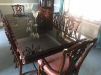 Dining table and 10 chairs - antique unique piece
