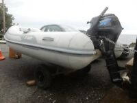 AB Ventus 9VL Rib complete with 2006 Tohatsu 8hp 4-Stroke outboard on launching trailer