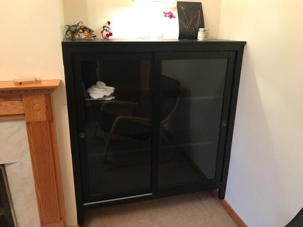 Gl Door Cabinet Ikea Hemnes Dr 120x130 Cm Black